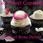 Red Velvet Cupcakes with Candied Rose Petals