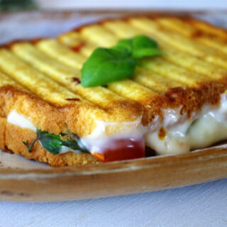 Caprese Grilled Cheese with Mozzarella, Brie and Honey Mayo