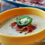 Jalapeno Popper Chicken Soup with Bacon Crisps