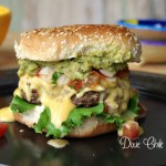 Mango Pico de Gallo Burger with Habanero Cheese Sauce and Guacamole