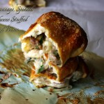 Italian Sausage, Spinach and Cheese Stuffed Pretzel Buns