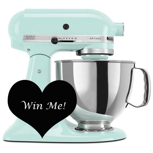 Enter to Win this Icy blue Kitchen Aid Mixer at Domestically-Speaking.com