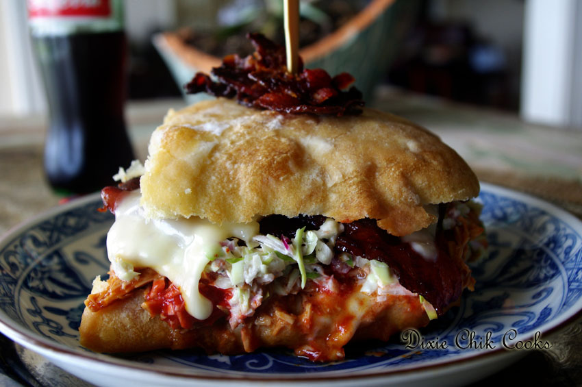 BBQ Chicken Grilled Cheese on Ciabatta with Hot Candied Bacon