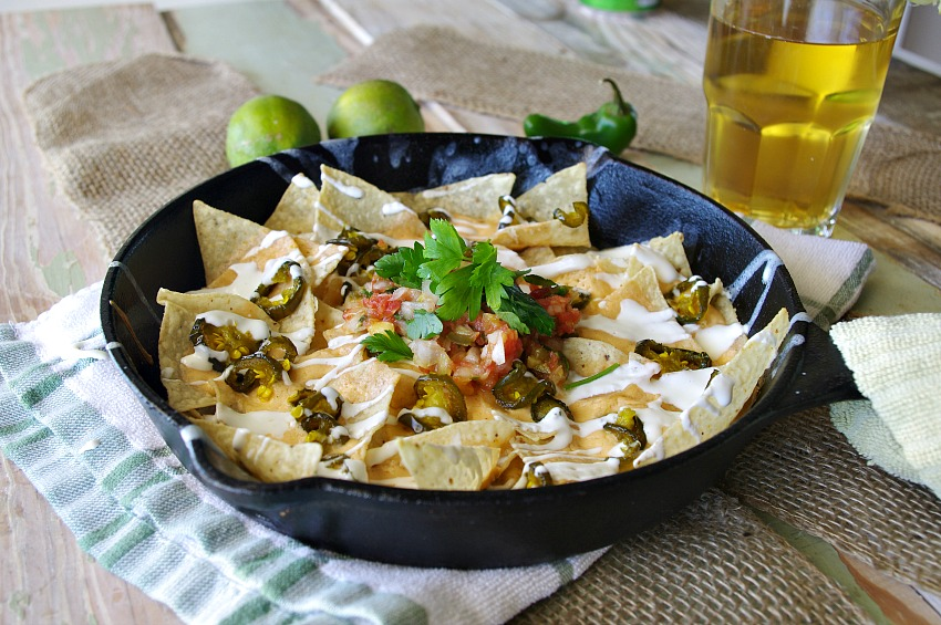 Beer Cheese Nachos with Lime Crema