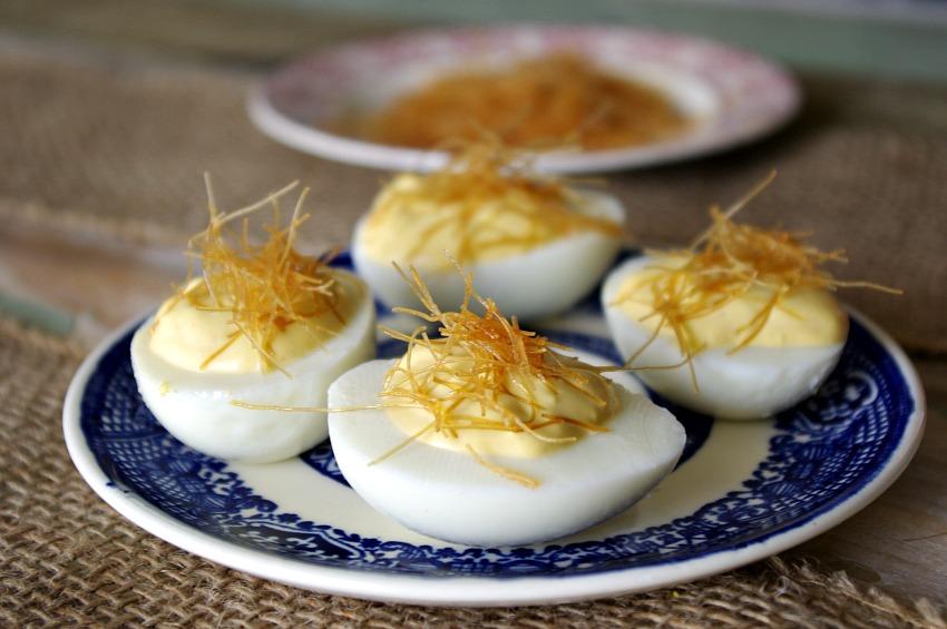 Wasabi Sriracha Deviled Eggs