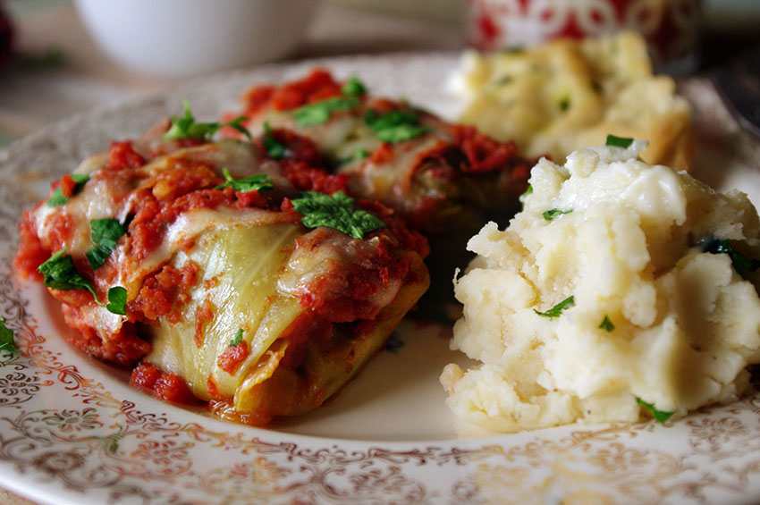 Spicy Stuffed Cabbage Rolls with Mozzarella