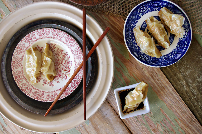 Salmon Dumplings with Key Lime Sesame Dipping Sauce