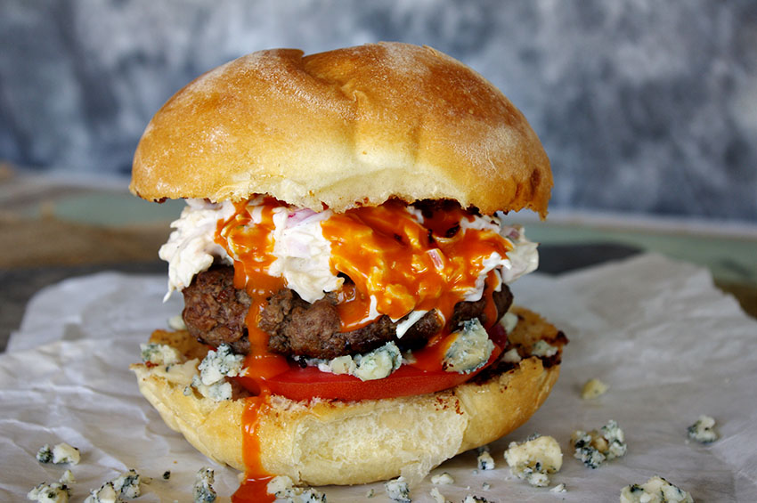 Buffalo Blue Cheese Burger with Jalapeno Slaw