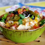 Chicken, White Corn and Black Eyed Pea Nachos