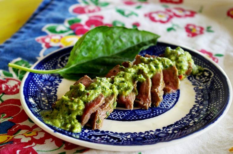 Flank Steak with Basil Chimichurri