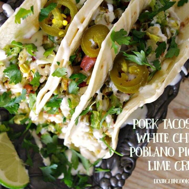 Pork Tacos with White Cheddar, Poblano Pico and Lime Crema