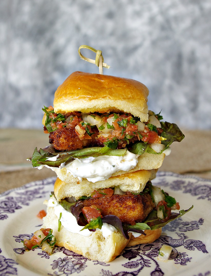 Crispy Chicken Sliders with Tabbouleh and Feta Mayo
