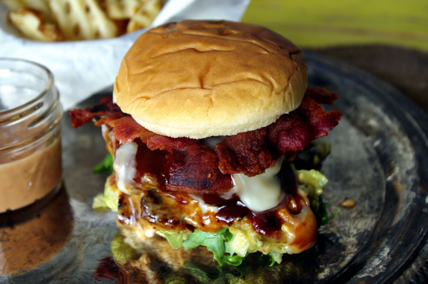 Fire Up the Grill – BBQ Bacon Fontina Burger with Peach Guacamole