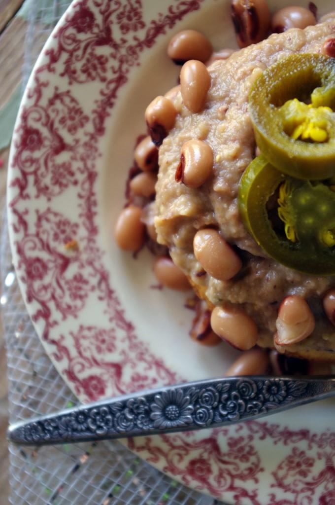Salsa Verde Refried Black Eyed Peas on Mini Jalapeno White Cheddar Cornbread Muffins