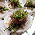 Sesame Ginger Filet Mignon with Grilled Asparagus and Caramelized Shallots