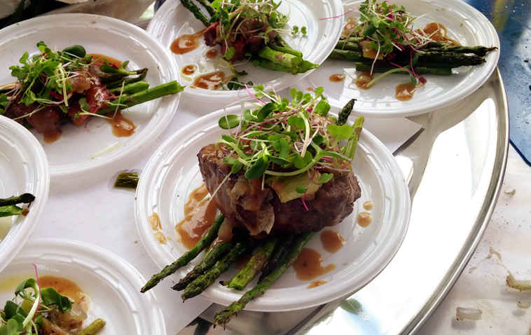 Sesame Ginger Filet with Grilled Asparagus and Caramelized Shallots