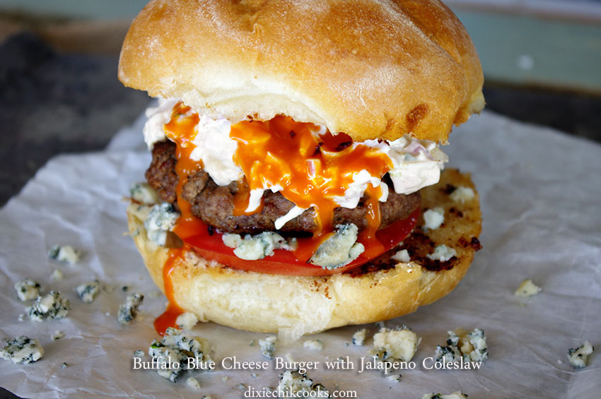 Buffalo Blue Cheeseburger with Jalapeno Slaw