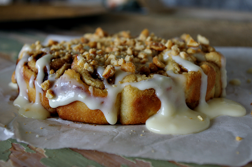 Cinnamon Rolls with Salted Caramel Nuts