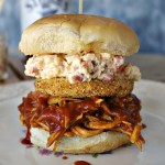 BBQ Chicken Sandwich with Fried Green Tomato and Bacon Pimento Cheese