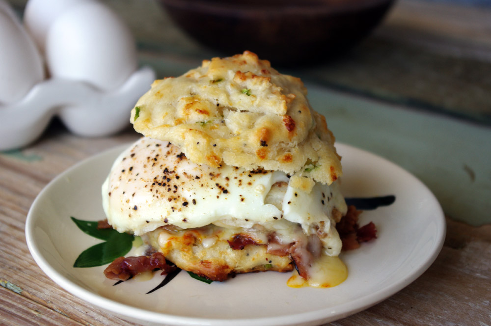 Chipotle Cheddar Biscuits with Pastrami, Ham and Egg