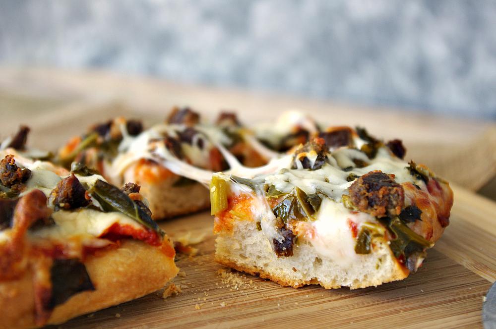 Venison and Collard Green Pizza