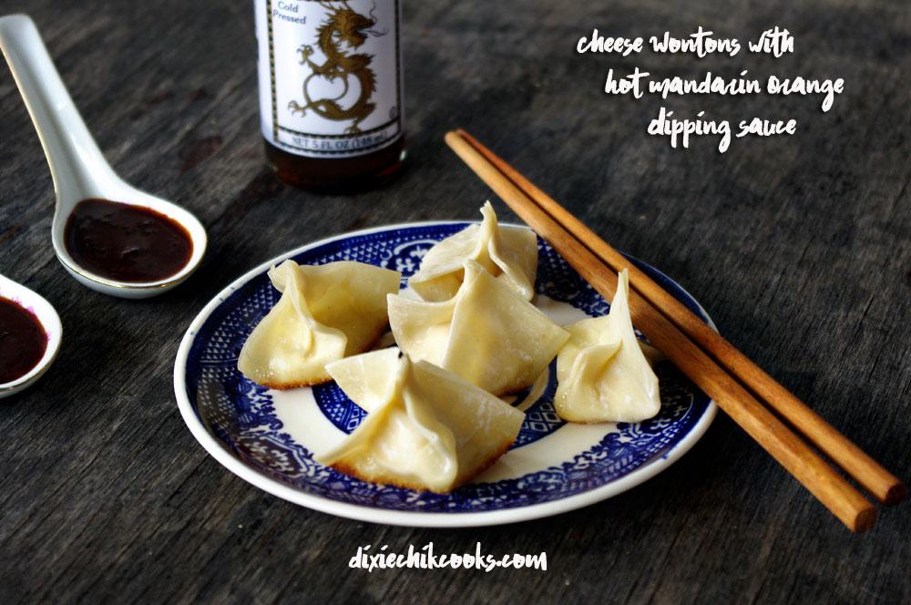 Cheese Wontons With Hot Mandarin Orange Dipping Sauce