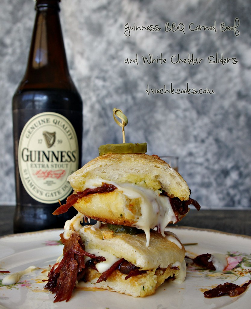 Guinness BBQ Corned Beef and White Cheddar Sliders | Dixie Chik Cooks