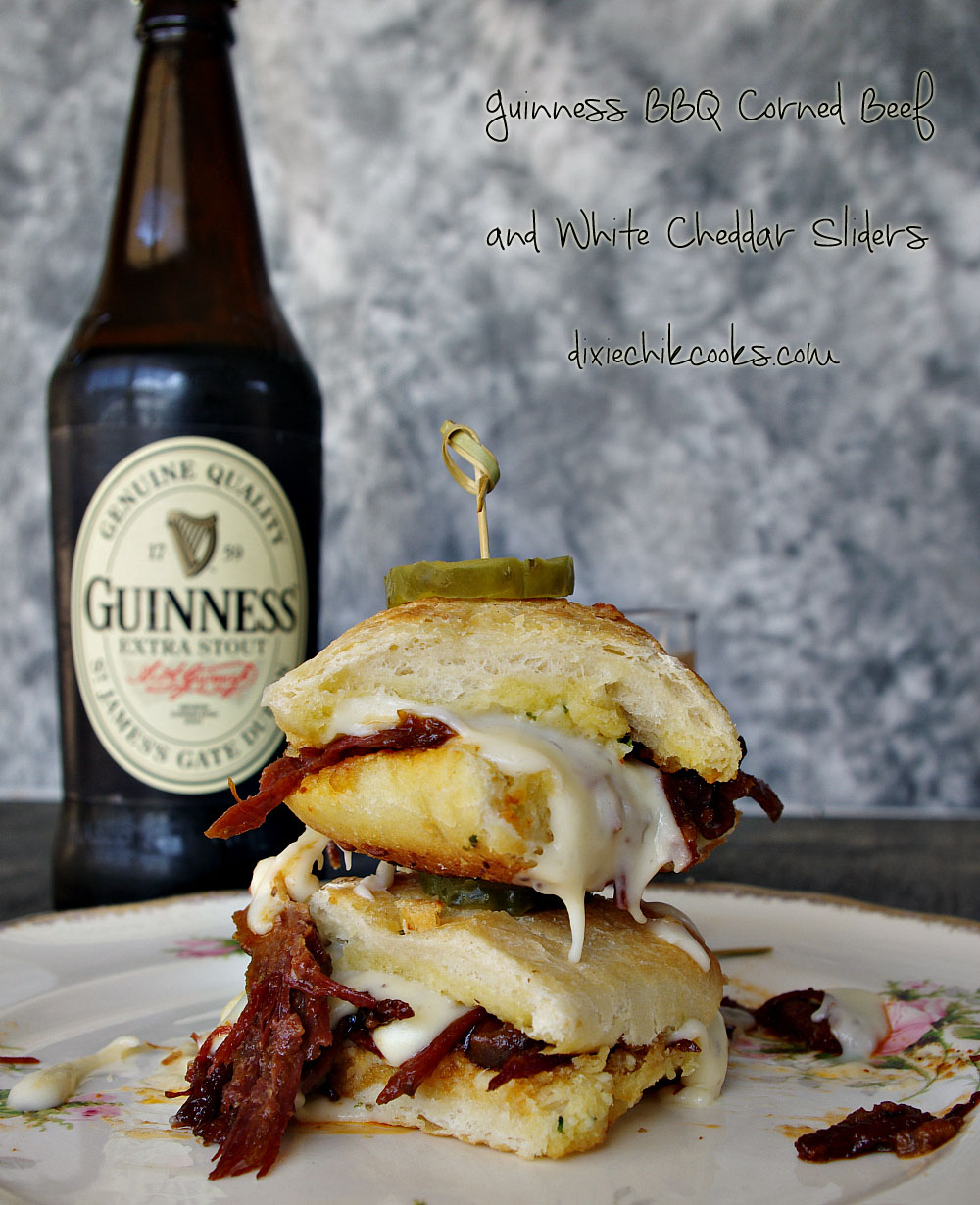 Guinness BBQ Corned Beef and White Cheddar Sliders   Dixie Chik Cooks