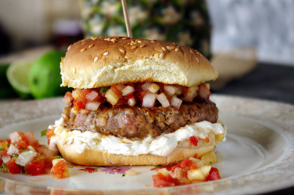 Pork Burger with Pineapple Serrano Salsa and Whipped Feta