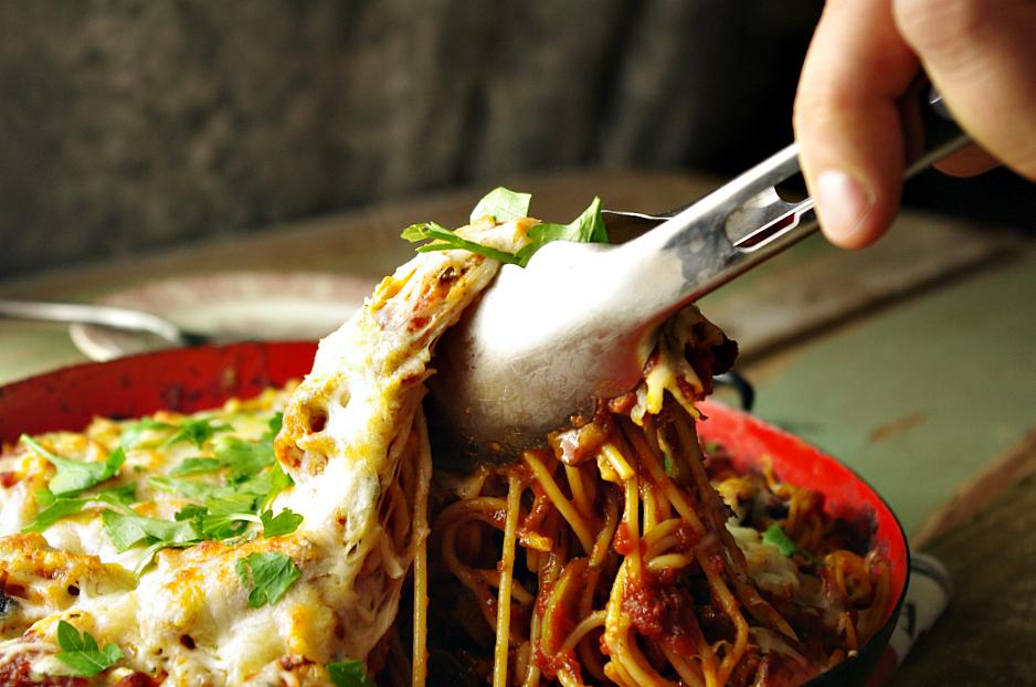 Smoked Sausage and Mushroom Spaghetti