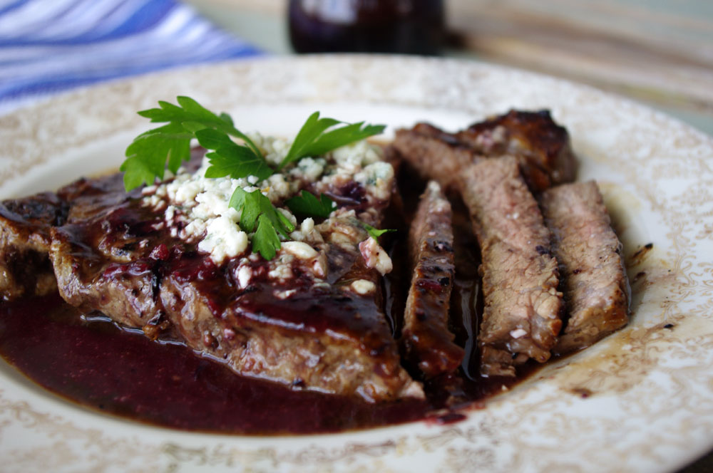 New York Strip with Spicy Blueberry Reduction and Blue Cheese | Dixie Chik Cooks