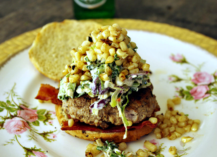 Pork Burger with Blue Cheese Slaw and Charred Corn | Dixie Chik Cooks