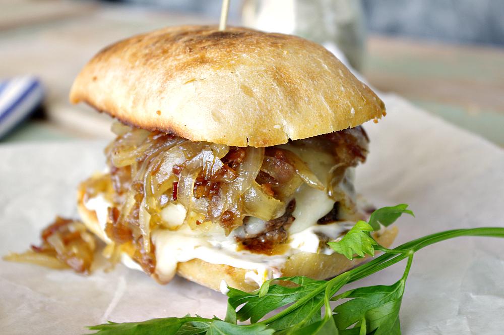Bacon Onion Jam Burger with Havarti Cheese and Jalapeno Mayo