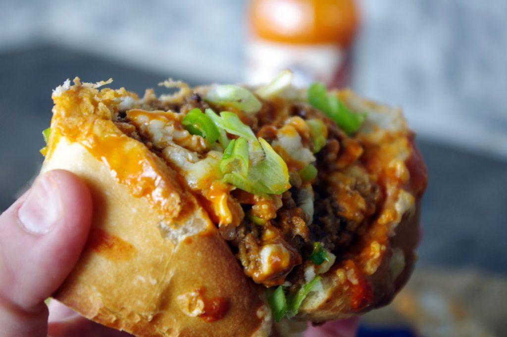 Buffalo Cheeseburger Stuffed French Bread | Dixie Chik Cooks