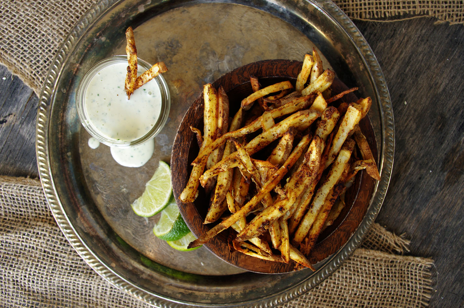 Baked Mexican Street Fries with Cilantro Lime Salsa Verde Ranch