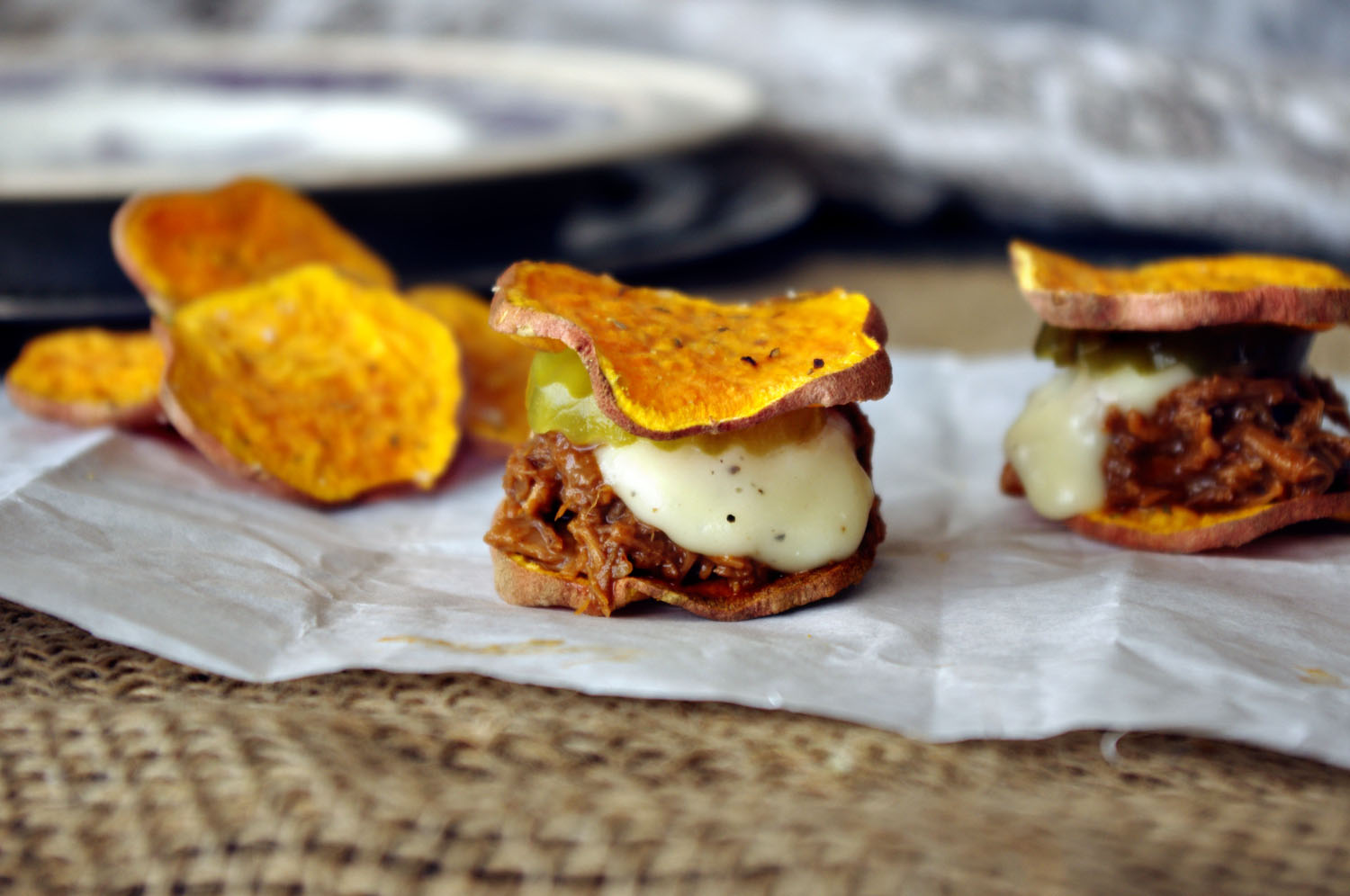 Sweet Potato BBQ Blue Cheese Sliders