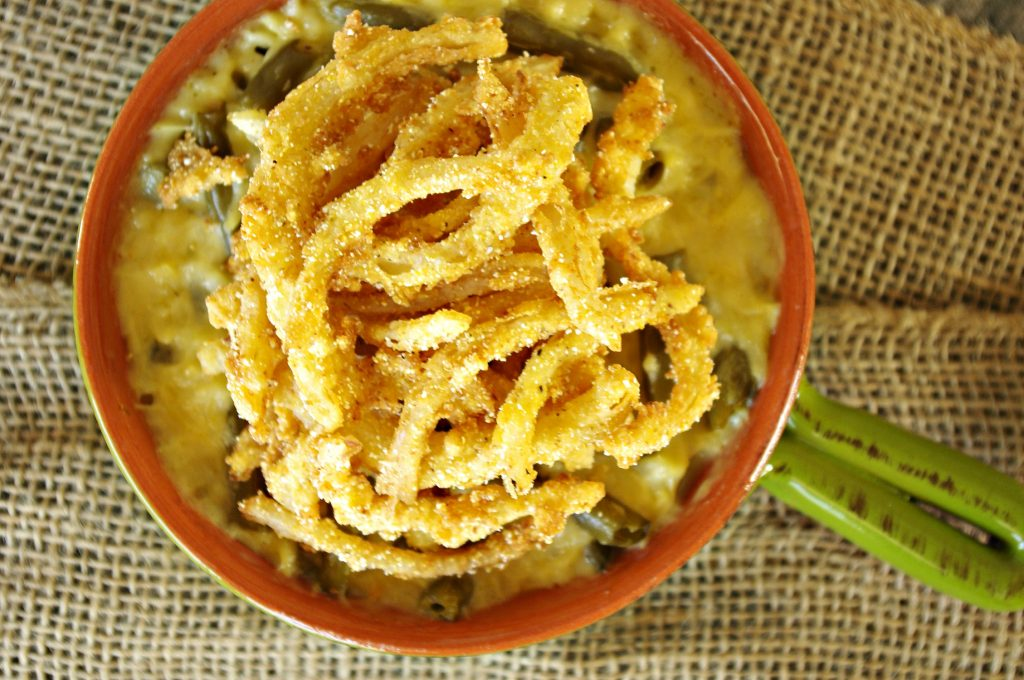 White Cheddar Green Bean and Orzo Casserole with Fried Onion Strings