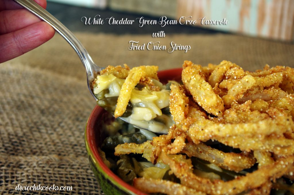 White Cheddar Green Bean Orzo Casserole with Fried Onion Strings