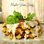 Cornbread Dressing Waffles with Maple Bacon Gravy