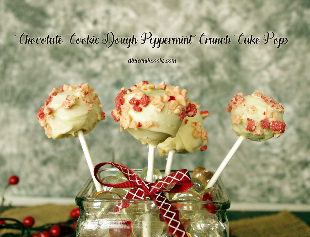 Cookie Dough Peppermint Crunch Cake Pops