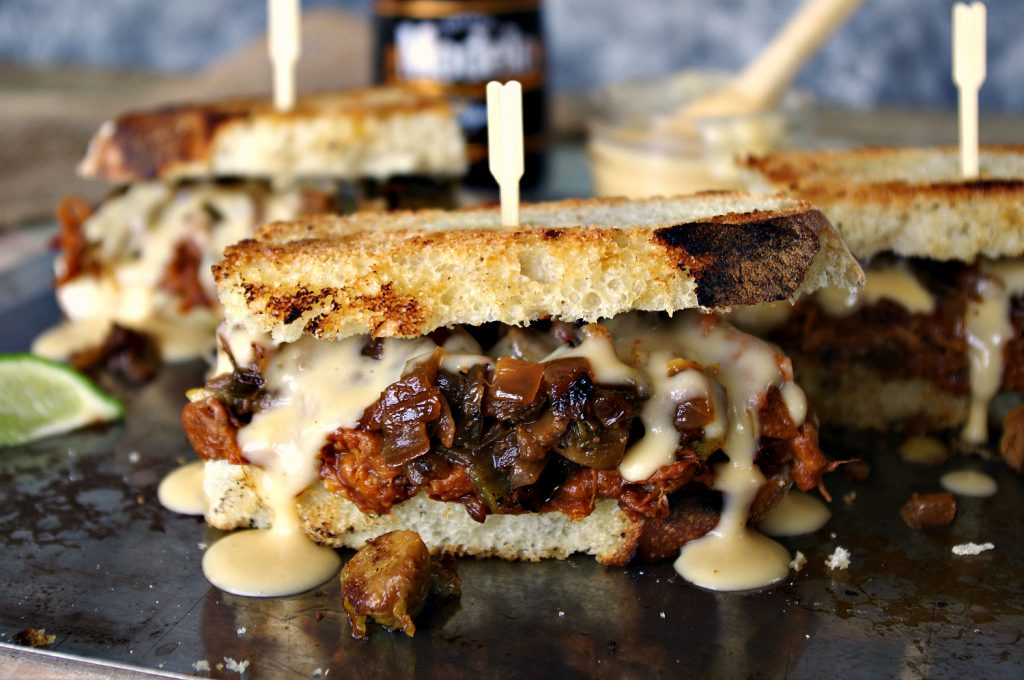 Brisket Sandwich with Modelo Cheese Sauce | Dixie Chik Cooks