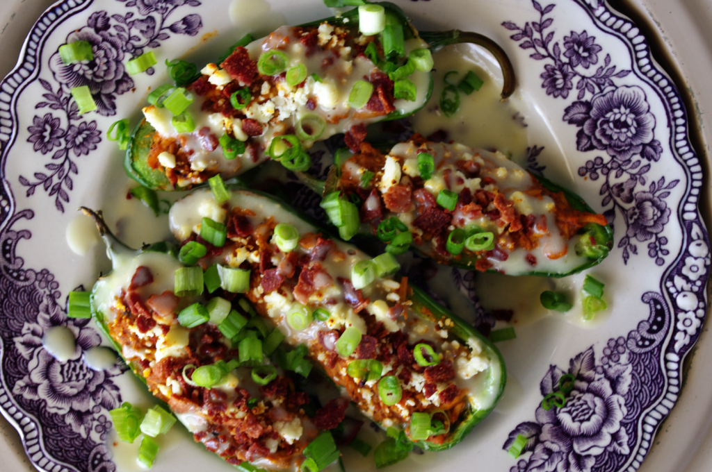 Buffalo Chicken, Bacon and Blue Cheese Jalapeno Poppers