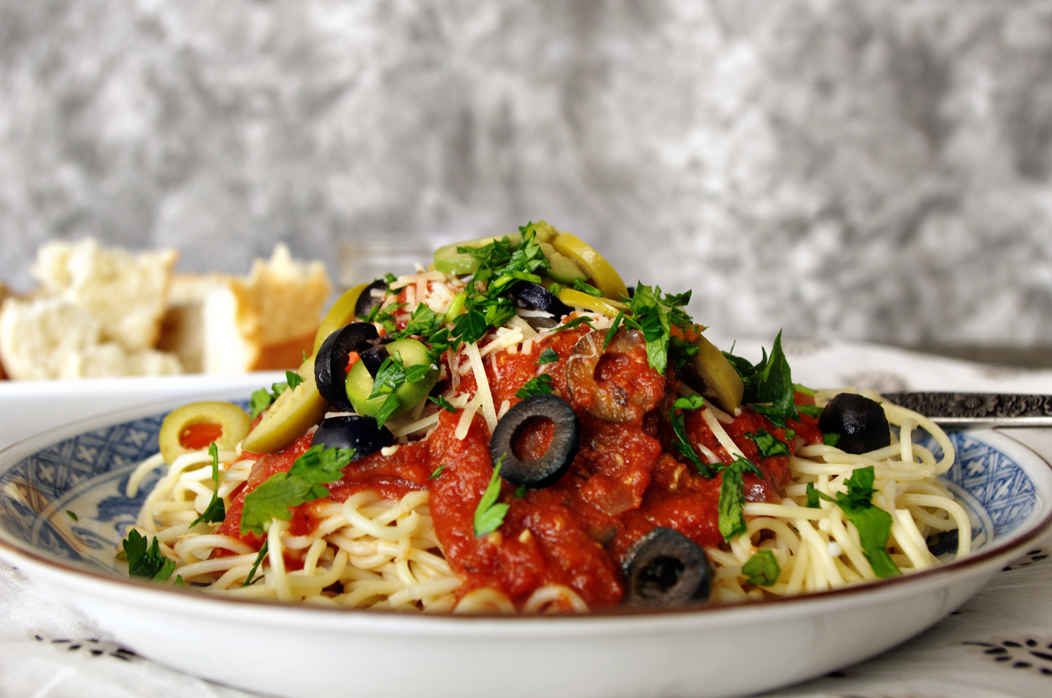 Three Olive Puttanesca Pasta with Meatballs