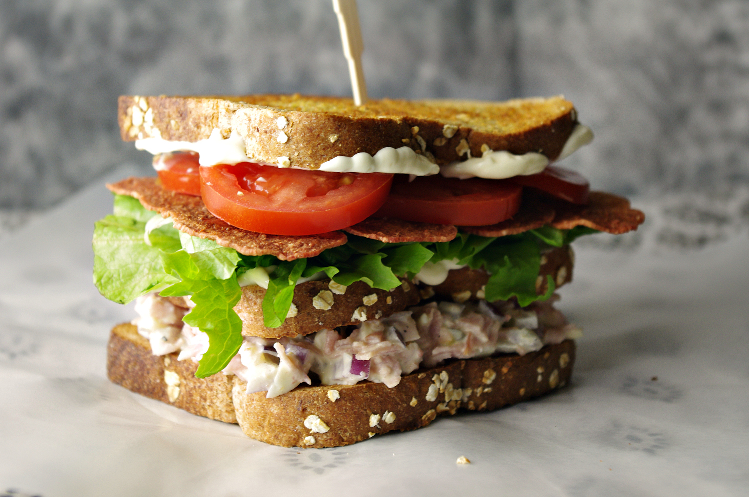 Sriracha Ham Salad Double Decker