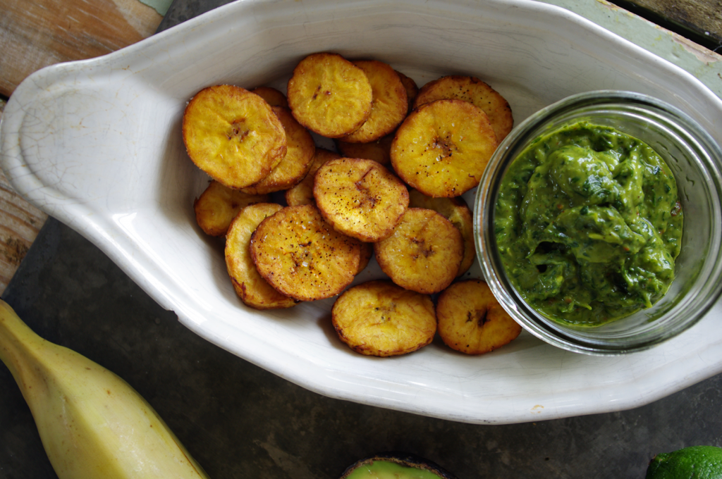 Tostones with Avocado Chimichurri