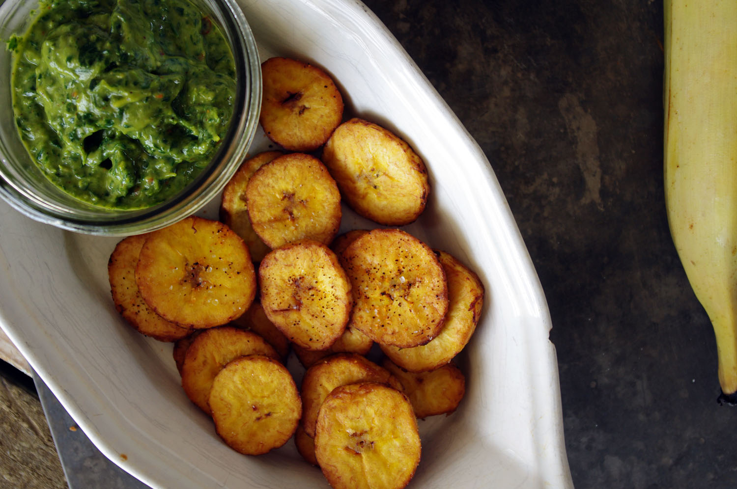Salty Tostones with Avocado Chimichurri