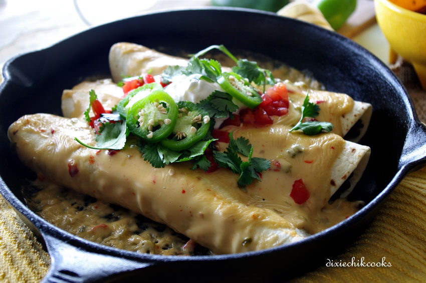 Black Bean and Beef Skillet Enchiladas