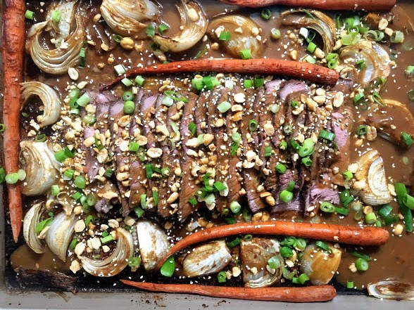 Sheet Pan Thai Peanut Beef