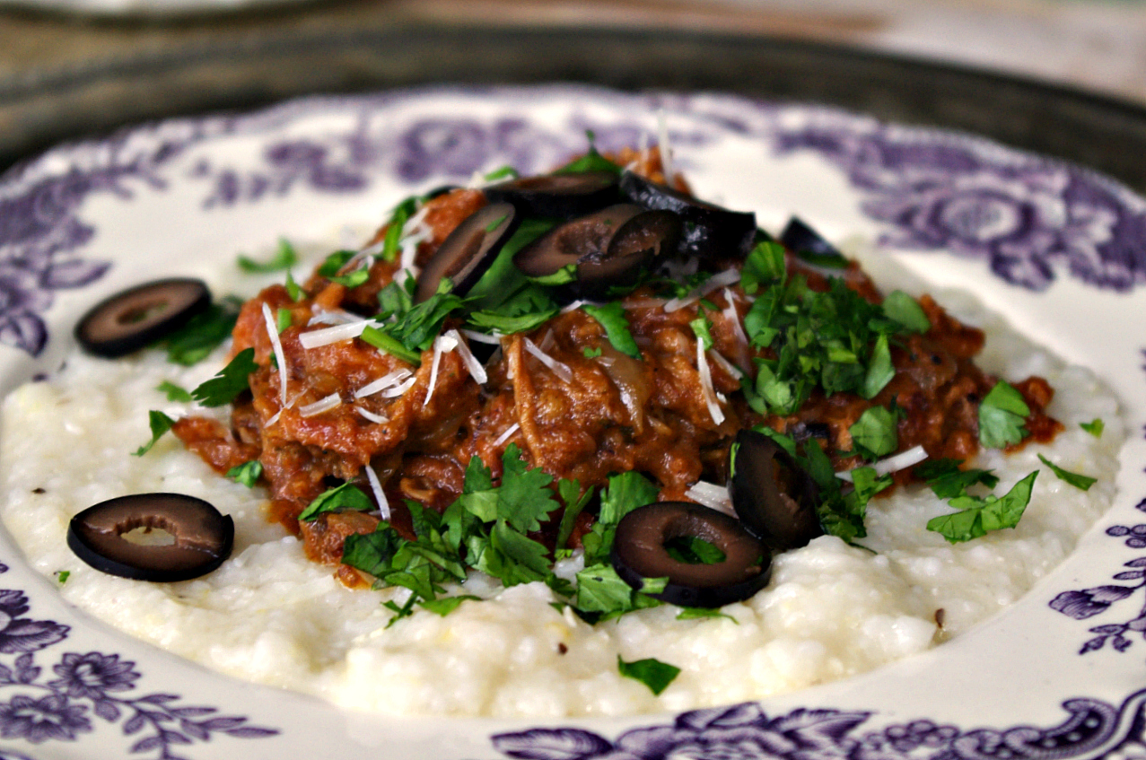 Enchilada Pork over White Cheddar Grits
