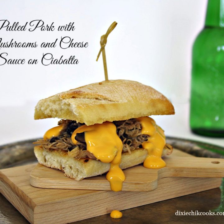 Pulled Pork, Mushrooms and Cheese Sauce on Ciabatta